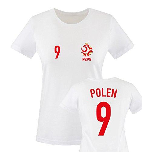 EM 2016 - Trikot - EM 2016 - Polen - 9 - Damen T-Shirt - Weiss/Rot-Gold Gr. XXL