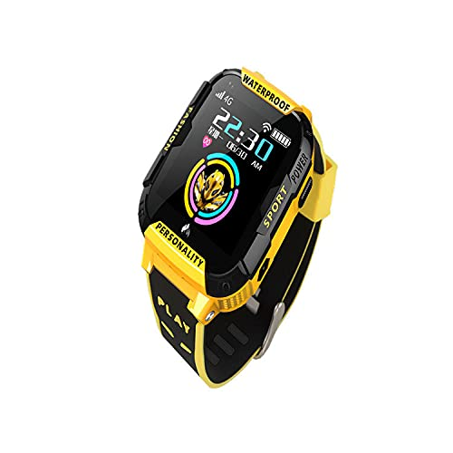 Reloj Infantil,Nuevo 4G Smart Phone Watch Watch GPS Posicionamiento Video Llamada AI Voz Educación Earlada HD Pantalla Toque-Amarillo