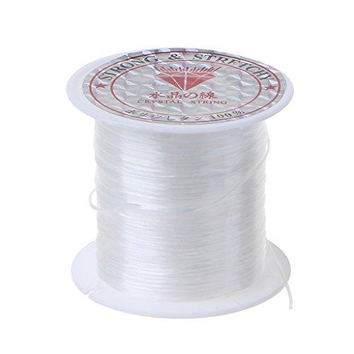 BLEUNUIT Hilo elástico para Abalorios, Hilo elástico Transparente para Abalorios, cordón de poliéster elástico para Hacer Joyas, Color Blanco