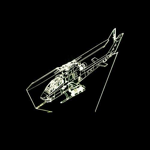 BFMBCHDJ 2019 neue Flugzeuge Tischlampe Kreative Geschenk Lampen 3D Kämpfer Bunte Nachtlicht Dekorative Kleine Tischlampe A2 Weiß riss basis
