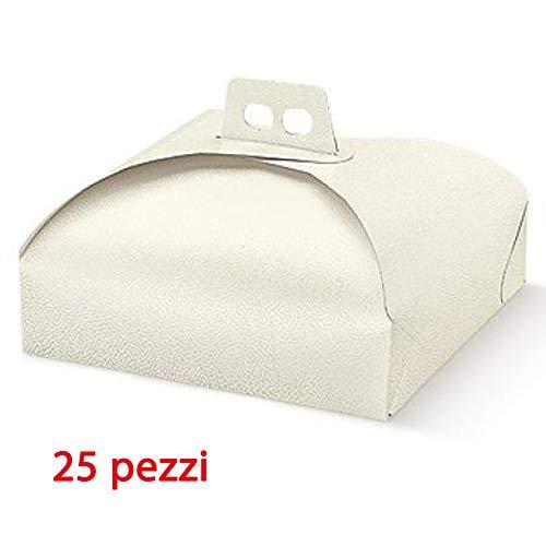 25 pz Porta Torta cm. 19x19 per alimenti Scatola in Cartone Trasportare Dolci Torte paste pasticceria Adatto per paste, pastine, tortine Vassoi Quadrati Formato 19
