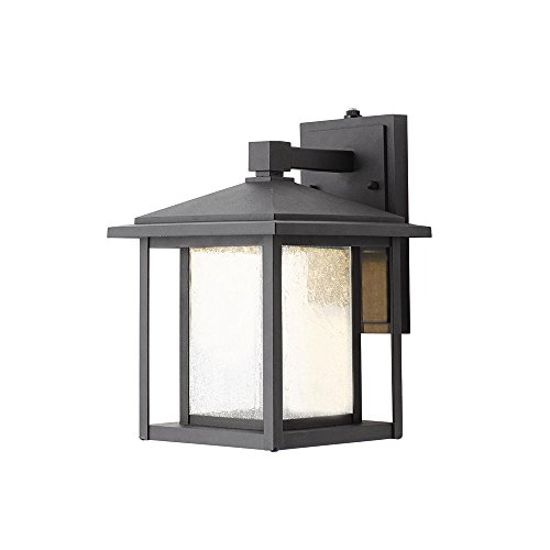 Home Decorators Collection Black Outdoor Seeded Glass Dusk to Dawn Wall Lantern