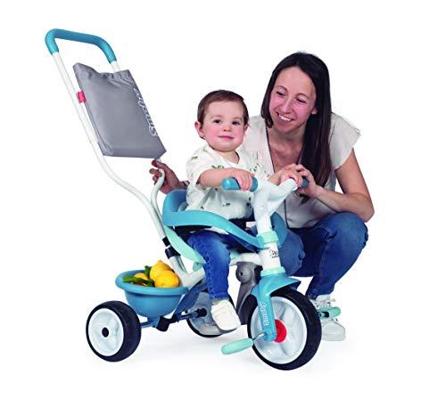 Smoby - Be Move Komfort blau - Kinderdreirad mit Schubstange, Sitz mit Sicherheitsgurt, Metallrahmen, Pedal-Freilauf, für Kinder ab 10 Monaten