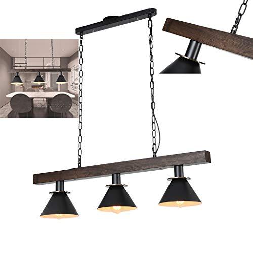 La lámpara de techo A.1.Coo está hecha de madera reciclada, estilo escandinavo, 3 llamas para fuente de luz E27, adecuada para sala de estar, mesa de comedor, pasillo, dormitorio, etc.
