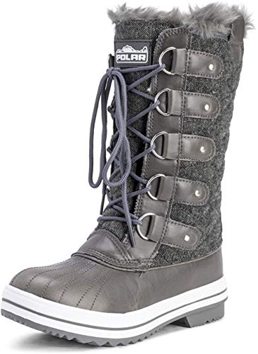 Polar Womens Snow Boot Quilted Tall Winter Snow Waterproof Warm Rain Boot - 8 - GRT41 YC0013
