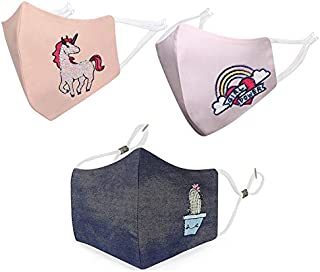 MASQ by Q-One POWER-COMBO 3 Layer Reuseable, Washable Cotton Cloth Face Mask for Kids with Lanyard & Ear Adjusters (Denim-...