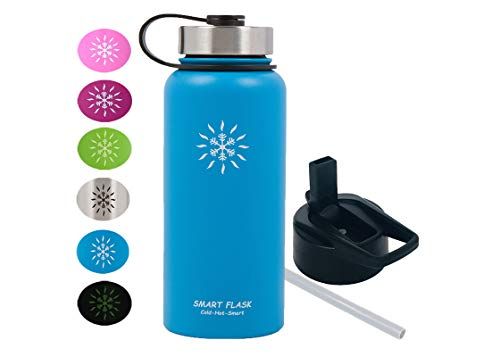 Smart Flask 32oz Stainless Steel, Wide Mouth, Vacuum Insulated, Double Walled Water Bottle, Includes Leakproof Travel Lid and Convenient Straw Cap (Ocean Blue)