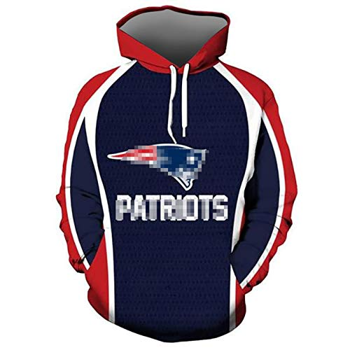 ZHMIAO Pullover Patriots Hoodie 3D Men American Football Jersey, Men's and Women's 3D Rugby Sweatshirt Classic Sportswear Long Sleeve Hooded red-L