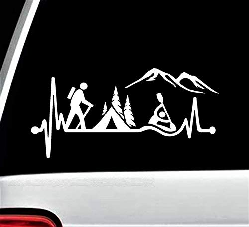 Hiker Guy Camping Tent Kayak Heartbeat Decal Sticker for Car Window 8.0 Inch BG 486