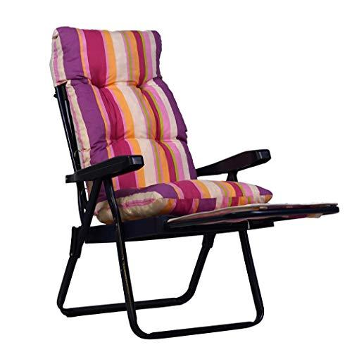 Tecnoweb Coussin de rechange pour chaise longue avec chariot extractible très rembourré à rayures multiples rose fuchsia