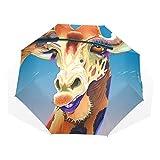 Le Maquillage de Girafe de Mode de Parapluie 3 Se Plie léger Anti-UV Coupe-Vent