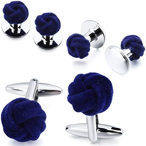 weichuang Men's Tuxedo Shirt Jewelry Cufflink Stud Set Fashion Blue&Purple Silk Knot Cuff Links Button Come with Box (Metal Color : Blue)