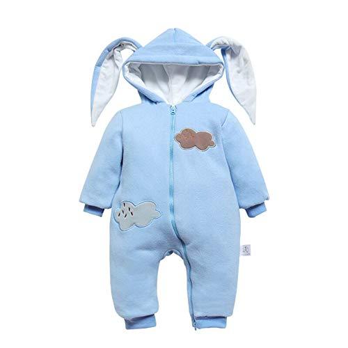 Bebé Mameluco con Orejas de Conejo Ropa para Niños y Niñas Jumpsuit Recién Nacido Mono Unisex Traje de Nieve Cremallera,0-24 Meses