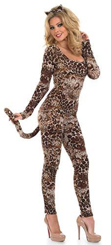 Damen Sexy Puma Catsuit Tier Leopard Raubkatze Big Cat Kostüm Kleid Outfit ÜberGröße 8-30 - Braun, UK 28-30