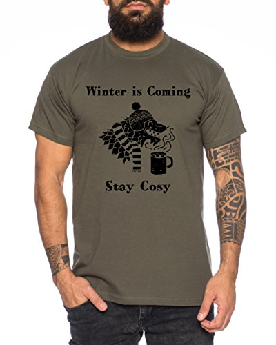 Winter is Coming Stay Cosy Thrones Camiseta de Hombre Nerd of Game, Farbe2:Khaki;Größe2:M
