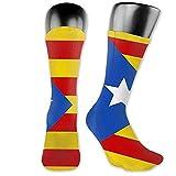 Calcetines deportivos unisex Calcetines con cojín absorbente de la bandera de Cataluña Calcetines deportivos altos del tobillo Calcetines largos deportivos Calcetines transpirables confort 40cm
