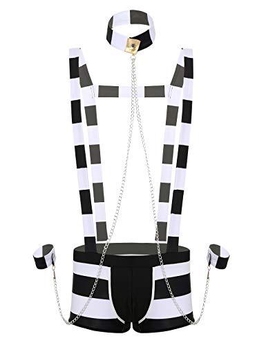 iixpin Cameriere Sexy Uomo Prigioniero Costume Carcerato Addio al Celibato Carnevale Boxer con Bretelle Manette Sexy Polsino Capello a Righe Bondagerie Kit Completo Nero&Bianco Large