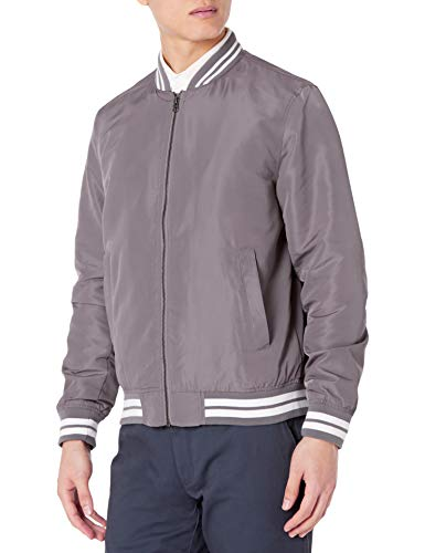 Amazon Essentials - Cazadora ligera para hombre, gris claro/blanco, US XL (EU XL - XXL)