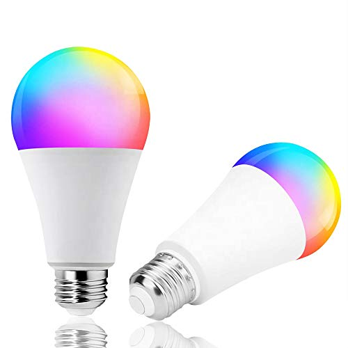 Smart WiFi LED Bulb – 800LM/60W Equivalent RGB Color Changing(3000k-6500k), Compatible with Alexa & Google Home Assistant, No Hub Required, 2.4GHz WiFi, Dimmable with App, B22 E27 9W Multicolor Bulb