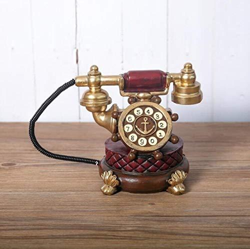JWGD Modelos Antiguo Europeo de Resina telefónicas Apoyo de la fotografía Retro teléfono Fijo Teléfono Ornamento de Escritorio Principal de la decoración de la Ventana (Color : Rojo)