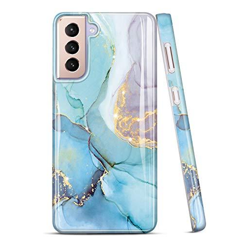 JIAXIUFEN Galaxy S21 Hülle Handyhülle TPU Silikon Weiche Schlank Schutzhülle Handytasche Flexibel Hülle Handy Hülle für Samsung Galaxy S21 5G - Marmor Glitter Mint Purple