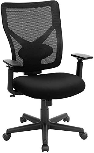 Bürostuhl in Netzoptik ergonomischer Drehstuhl mit Kippmechanismus gepolsterter Sitz verstellbare Armlehnen Belastbarkeit 120 kg schwarz