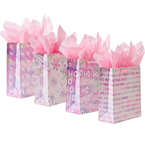 Christmas Gift Bags, 4 Pack Bling Gift Wrapping Bags with Christmas Balls, Medium Size Gift Bags with Small Card, Pink Gift Wrap Bags with Handles for Christmas Eve Gift Bags for Girls (Style F)