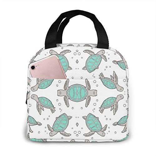 ~ Sea Turtles Nautical Ocean Mint Green On White Portable Insulated Lunch Bag Waterproof Tote Bag Lunch Tote
