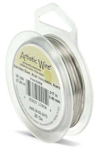 Beadalon Artistic, 26 Gauge, Stainless, 30 yd (27.4 m) Craft Wire, Shiny Steel
