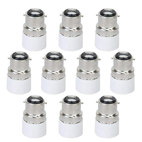 tJexePYK 10Pcs Glühlampe Adapter B22 zu E14 LED Schrauben-Birnen-Lampen-Adapter-Halter-Konverter-Verbindungsstück B22 zu E14 Licht Adapter Sockel Base Converter