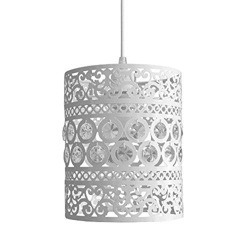 MiniSun - Pantalla de lámpara de techo ornamental 'Labass', cilíndrica en crema