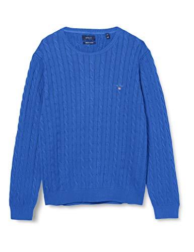 GANT Herren Cotton Cable C-Neck Pullover, Strong Blue Melange, M