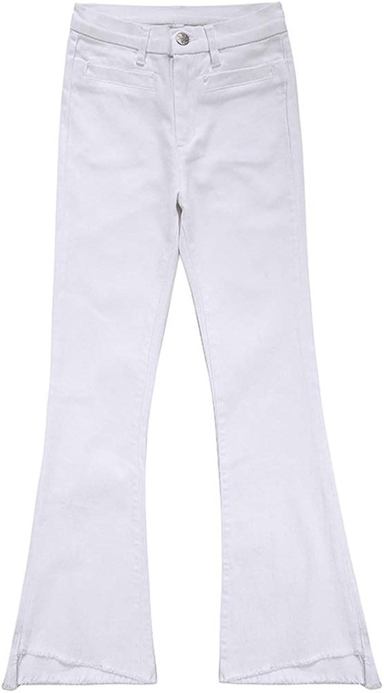 Summer Waist Microla Jeans Women's Raw Edge Irregular Thin White Bell Pants Pants Explosion Models Full of Sleek Breathable Pants Length 9294cm (color   White, Size   31)