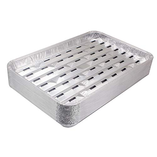Unifit 20 Pack Disposable Aluminum Foil Grill Pans - 13.4 x 9 x 1.1 Inch Food Trays, Aluminum Sheet Drip Topper Liners for Outdoor Cooking, Oven, Baking, Heating, BBQ
