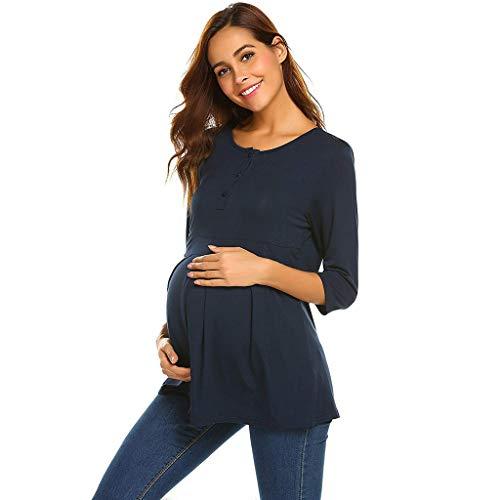FRAUIT Maglia PréMeman per L'Allattamento T-Shirt Premaman Abbigliamento Estivo Donna maternità Infermieristica Allattamento Top Doppio Strato Maglietta
