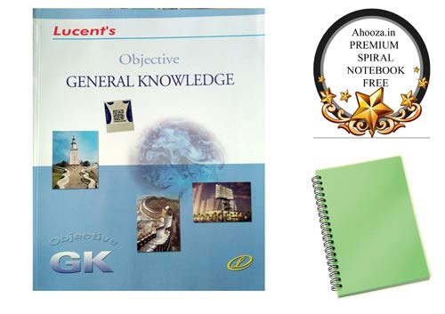 Lucents Objective General Knowledge for All Competitive Exams Book in English With Ahooza Premium Pocket Spiral Notebook