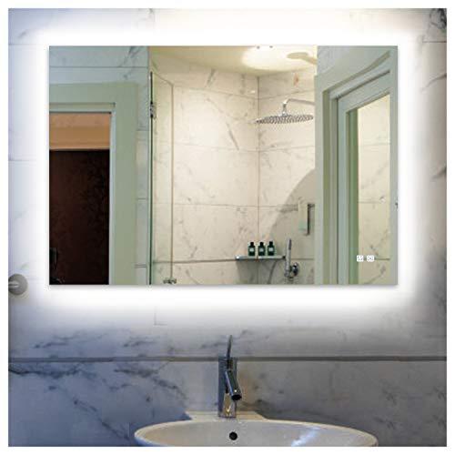 ROGSFN 36'x28' LED Backlit Fogless Bathroom Vanity Mirror Lighted Horizontal/Vertical Framelss Makeup -