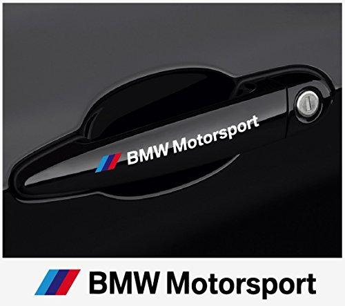 snstyling.com Aufkleber passend für BMW Motorsport Tuergriff Aufkleber 120 mm, 2 STK. (Weiss mit Farbstreifen)