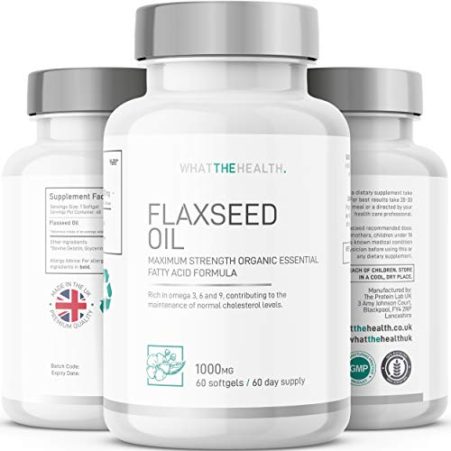 Flaxseed Oil Capsules | 1000mg Supplements | 60 Softgels | Keto Flaxseed