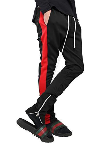 Mens Stripe Track Pants Skinny Fit Stretch Trouser Elastic Jogger 1VWA0006 (Large, p122_Blk/Red)