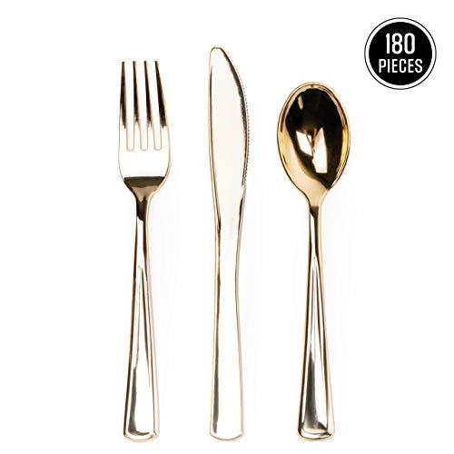 180 Stk Premium Plastik Einwegbesteck, Gemischte Goldbesteck Set| 60 Gabeln 60 Löffel 60 Messer| Hochwertiger Kunststoff| Stabil & Wiederverwendbar| Partybesteck für Hochzeiten Geburtstage Partys.
