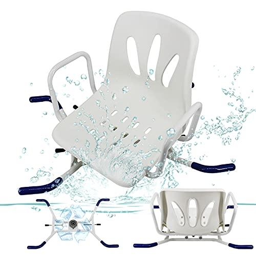 Silla de baño giratoria ajustable de acero inoxidable asiento asiento taburete de baño ancianos minusválidos silla de baño