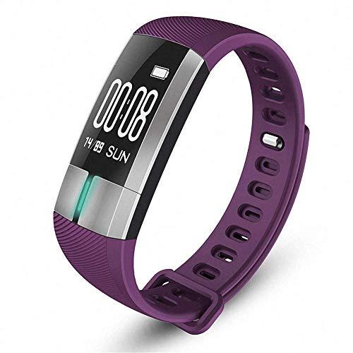 Everyday Fashion: Smart Armband Sport Step Fitness Tracker Blutdruck Pulsmesser IP7 Wasserdicht Smart Watch Farbdisplay für Android IOS, Lila