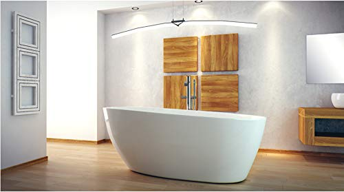 ECOLAM exklusive freistehende Badewanne Standbadewanne moderne Wanne freistehend Goya + Ablaufgarnitur Click Clack Design Mineralguss 160x70 cm glamour weiß