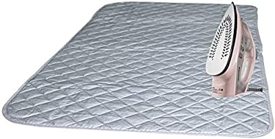 "Bukm Ironing Blanket, Magnetic Ironing Mat Laundry Pad, Quilted Washer Dryer Heat Resistant Pad, Ironing Board Covers (33 1/2"" x 19"", Grey) (Grey)"