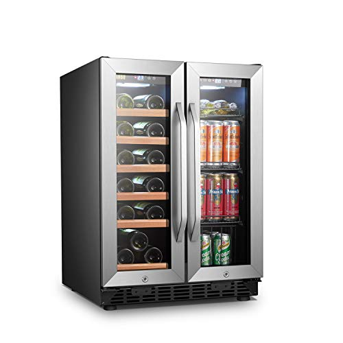 Lanbo Lockable Compact Stainless Steel Versatile 18 Bottle/55 Can Wine, Pop/Soda, and Adult Beverage Refrigerator