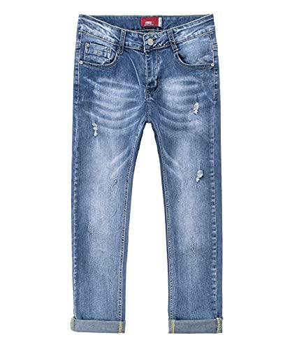 YoungSoul Zerrissene Jeans Jungen Stretch Denim Hose Kinder Skinny Jeanshosen mit Verstellbarem Bund Blau Ripped 152-158/Größe 14Y