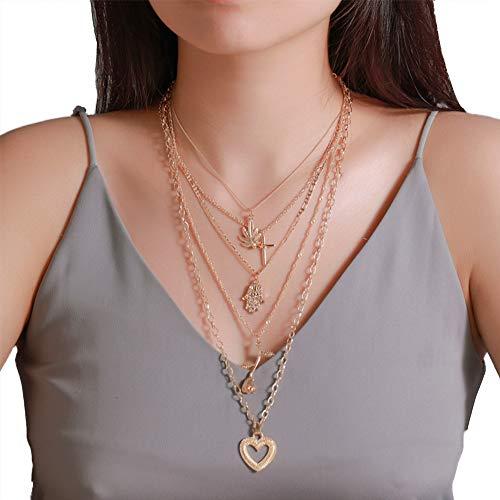 Multi-Layer-Halskette, Vergoldet Rose Love Cross Mit Ahornblatt Zirkonia Strass Hand Anhänger Kurze Halskette Für Frauen Und Mädchen