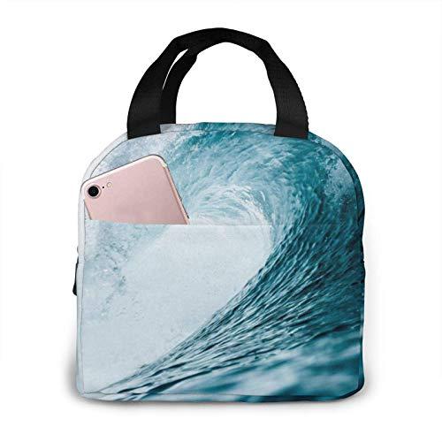 N\A Amazing Nature Sea Wave Impreso Portátil Almuerzo Bolsa De Almuerzo Bolsa De Almuerzo Enfriador Aislado Bolsa Térmica Reutilizable Bolsos De Mano para Mujer Trabajo Picnic O Viaje Fiambrer