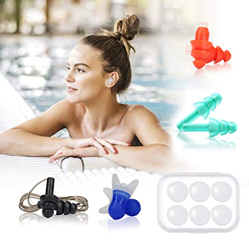 Swimming Ear Plugs, Reusable Soft Silicone Moldable Wax Noise Reduction Earplugs, Corded Ear Plugs Sound Blocking for Sleeping Swimming Musician Concert Travel Shooting (5 Pairs)